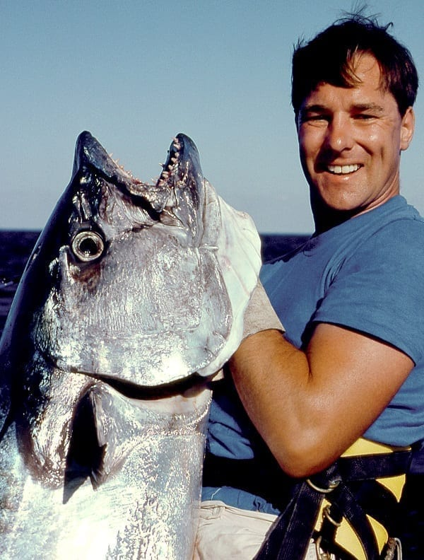 Tim Simpson with 120lb dogtooth tuna on 20lb line at wreck reef aboard seafari oct 1989