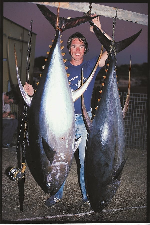 Tim Simpson with 192lb and 188 5lb yellowfin tuna on 50lb tackle at Bermagui in 1980s